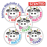 30 Mixed Wording Cow 25mm Banana Milkshake Scented Stickers