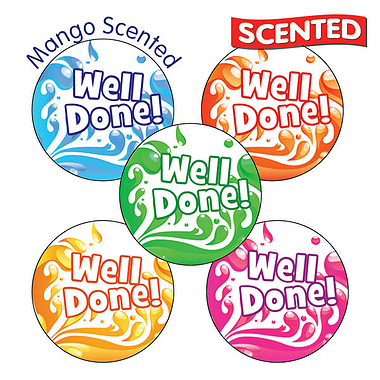'Well Done' Mango Scented 25mm Stickers x 30