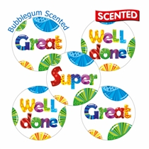30 Bubble Gum Scented Praise Stickers 25mm diameter