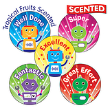 30 Mixed Wording Robots 25mm Toffee Popcorn Scented Stickers