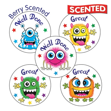 Vanilla Scented Stickers - Monsters (25mm) x 30