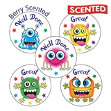 30 Mixed Wording Monsters 25mm Vanilla Scented Stickers