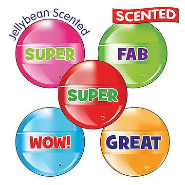 30 Mixed Wording Lollipops 25mm Jellybean Scented Stickers