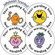 Jellybean SCENTED PERSONALISED Mr Men & Little Miss 37mm Stickers x 35