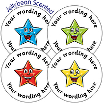 SCENTED PERSONALISED Star Stickers - Jellybean (37mm)  x 35