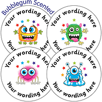 35 Bubblegum Scented PERSONALISED Monster Stickers 37mm