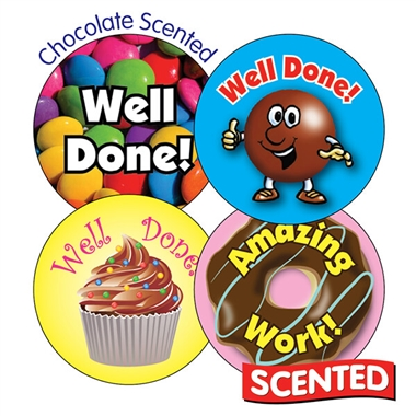 Scented CHOCOLATE Stickers - Well Done (20 Stickers - 32mm)