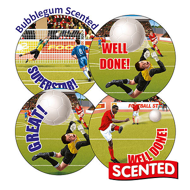 Scented Bubblegum Stickers - Football (20 Stickers - 32mm)