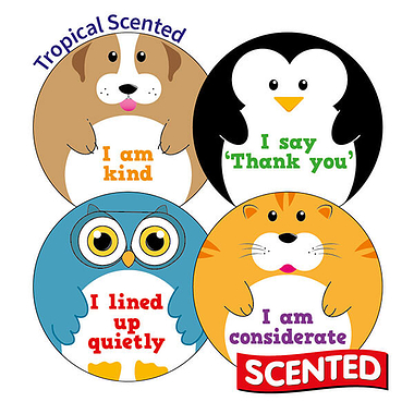 Scented Tropical Stickers - Manners (20 Stickers - 32mm)