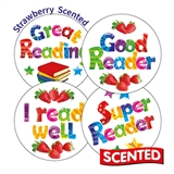 Scented Strawberry Stickers - Reading (20 Stickers - 32mm)