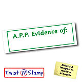 A.P.P. Evidence of: Twist & Stamp Stamper Brick - Green Ink (38mm x 15mm)