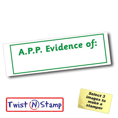 A.P.P. Evidence of: Twist N Stamp Stamper Brick - Green Ink (38mm x 15mm)