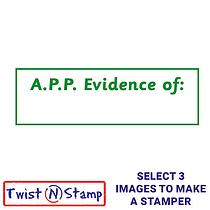 A.P.P. Evidence of: Twist N Stamp Stamper Brick - Green Ink (38mm x 15mm)