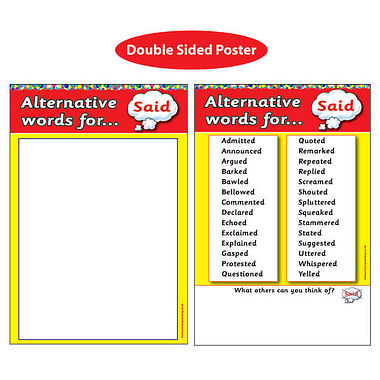 Alternative Words for 'Said' Double Sided Paper Poster (A2)