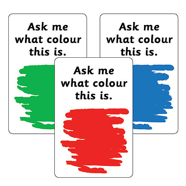Ask Me What Colour Stickers - Mixed (32 Stickers - 46mm x 30mm)
