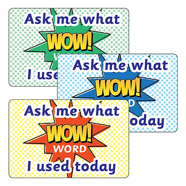 Ask Me What WOW Word I Used Today Stickers (32 per sheet - 46mm x 30mm)
