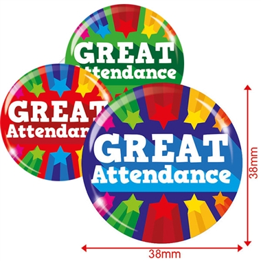 Great Attendance Badges (3 sizes, pack of 10)