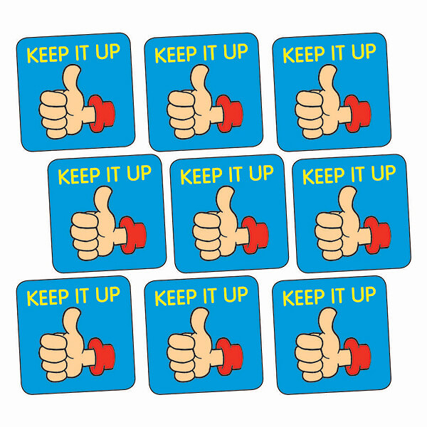 Sheet Of 140 Keep It Up Thumb 16mm Square Stickers on Teaching Money