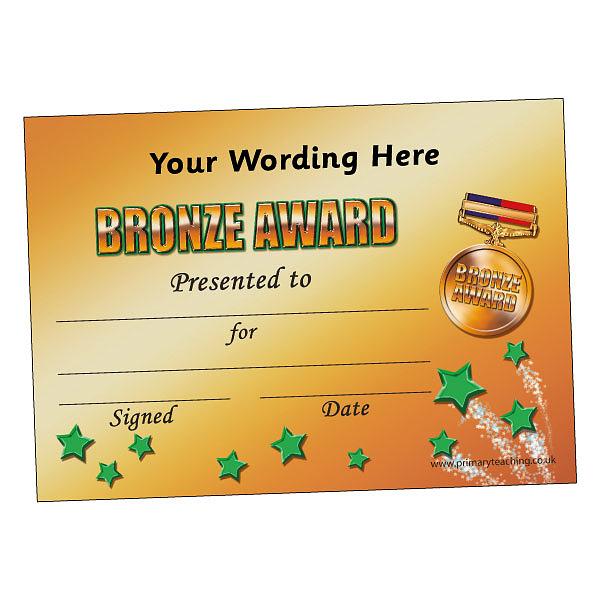 Customised Bronze Award Certificate