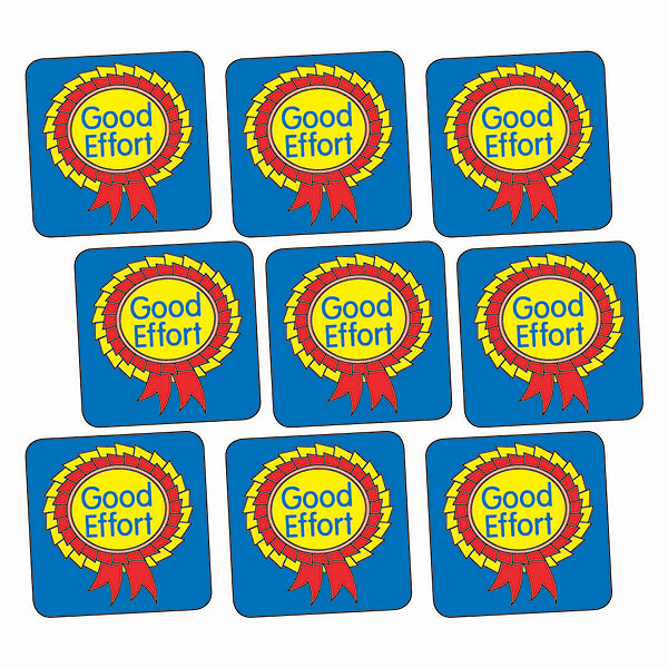 Sheet of 140 Good Effort Rosette 16mm Square Stickers Teachers Teaching