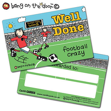 Bang on the Door Football Crazy Plastic CertifiCARDS - Well Done (10 Cards - 86mm x 54mm)