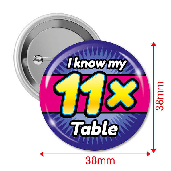 Pack of 10 i know my 11x times tables 25mm button badges for 11x table