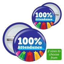 100% Attendance Badges (Choice of 3 sizes, Pack of 10)