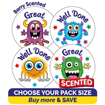 Berry Scented Monster Stickers (32mm)