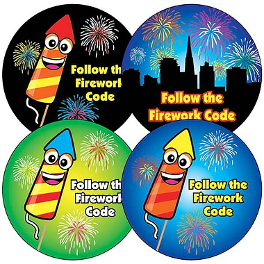 Bonfire Night Safety Stickers -  (35 Stickers - 37mm)