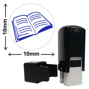 Book Mini Stamper - Blue Ink (10mm)