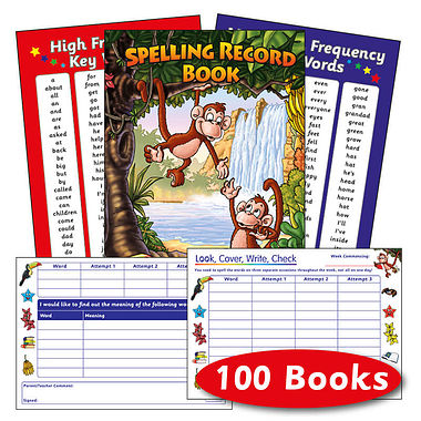 Box of 100 Jungle Themed 56 Page Spelling Record Books