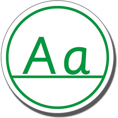 Capital Letters 'Aa' Stamper - Green Ink (21mm)