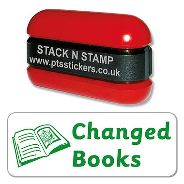 Changed Books Stack & Stamp - Green Ink (38mm x 15mm)