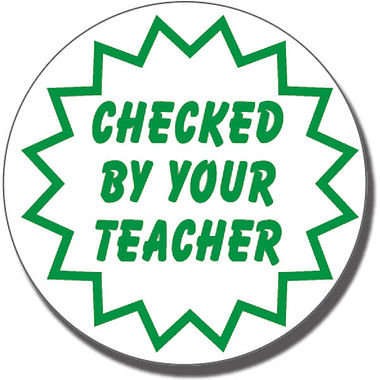 Checked By Your Teacher Stamper - Green Ink (25mm)