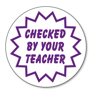 Checked By Your Teacher Stamper - Purple Ink (21mm)