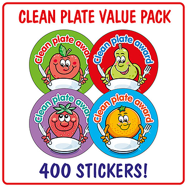Clean Plate Award Stickers (400 Stickers - 32mm) Brainwaves