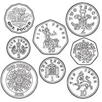 Coin Image Stampers - Black Ink (Set of 8 Stampers)