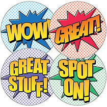 Comic Style Stickers (35 Stickers - 37mm)