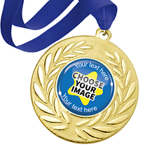 Create Your Own Gold Metal Medals - Blue Ribbon (10 Medals)