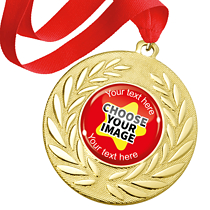 Create Your Own Gold Metal Medals - Red Ribbon (10 Medals)