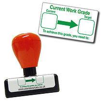 Current Work Grade' Stamper - Green Ink (42mm x 22mm)