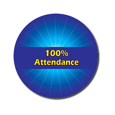 Customised 100% Attendance Stickers - Blue (70 per sheet - 25mm)