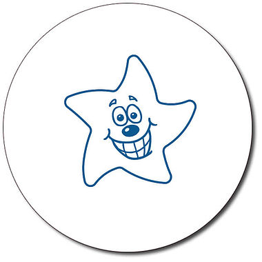 Customised Expression Star Grin Stamper - Blue Ink (25mm)