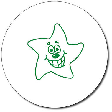 Customised Expression Star Grin Stamper - Green Ink (25mm)