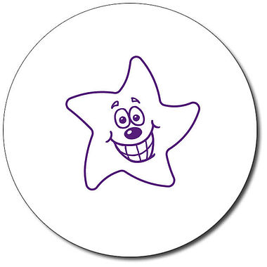 Customised Expression Star Grin Stamper - Purple Ink (25mm)