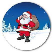 Customised Father Christmas Stickers (35 per sheet - 37mm)