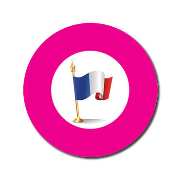 Customised French Flag Stickers - Pink (70 per sheet - 25mm)