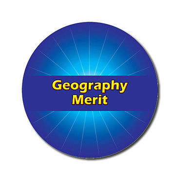 Customised Geography Merit Stickers - Blue (70 per sheet - 25mm)