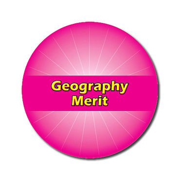 Customised Geography Merit Stickers - Pink (70 per sheet - 25mm)