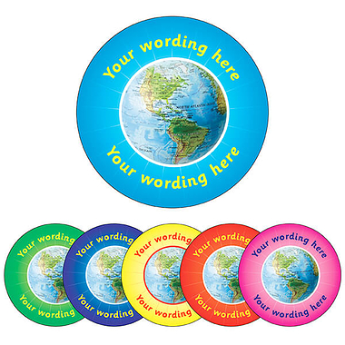 Customised Geography Stickers (70 per sheet - 25mm)